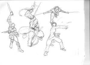 Four figure studies in the comic hero tradition
