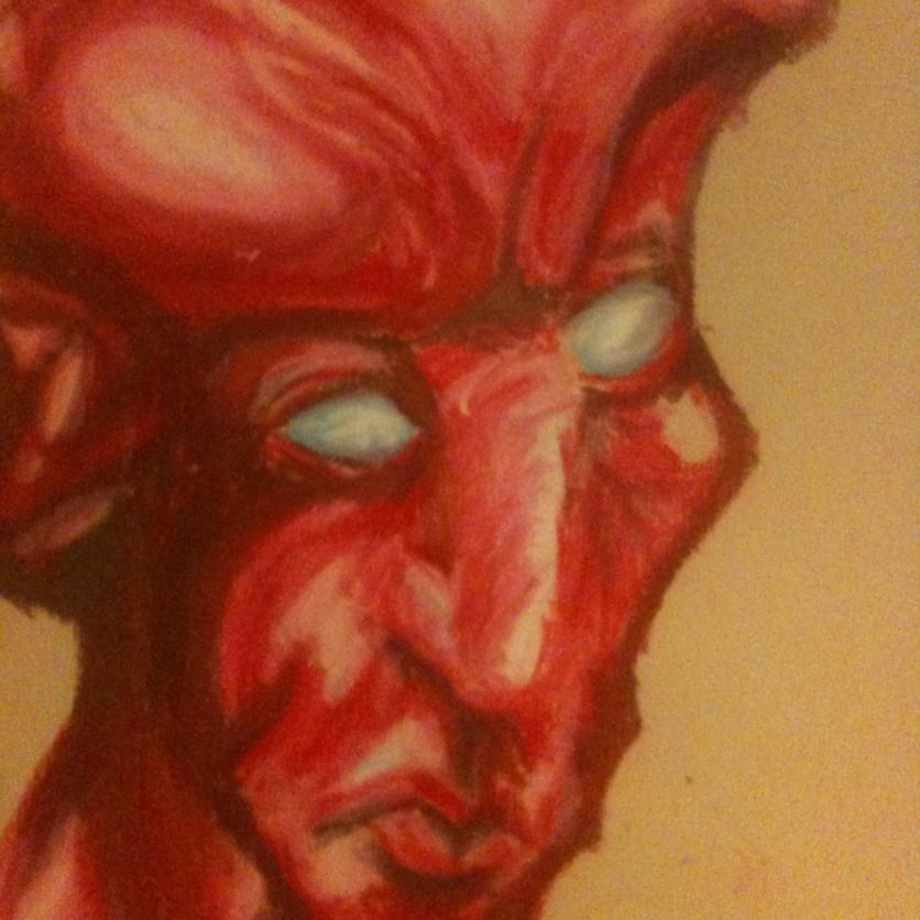 Devil Portrait- Portrait Study- pastel on thick paper