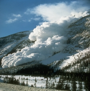 An avalanche striking